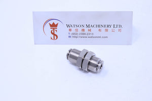 API R270606 Bulkhead 6mm Push-in Fitting (Nickel Plated Brass) (Made in Italy) - Watson Machinery Hydraulics Pneumatics