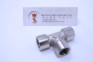 "API A02338 Branch Tee 3/8"" Pneumatic Fitting (Nickel Plated Brass) (Made in Italy) - Watson Machinery Hydraulics Pneumatics"