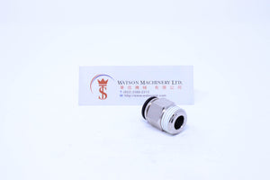 "(CTC-12-04) Watson Pneumatic Fitting Straight Connector Push-In Fitting 12mm to 1/2"" Thread BSP (Made in Taiwan)"