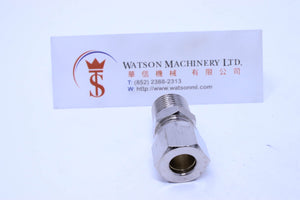 "API O111038 Compression Fitting BSPT Stud 3/8"" to 10mm (Nickel Plated Brass) (Made in Italy) - Watson Machinery Hydraulics Pneumatics"