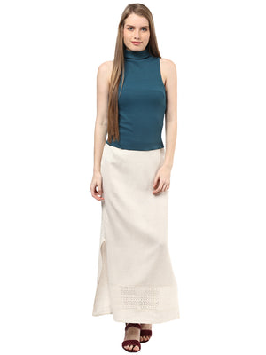 Beige Solid Long Skirt