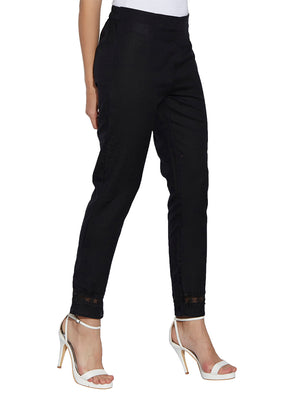 Black Solid Straight Fit Pant With Lace At The Bottom