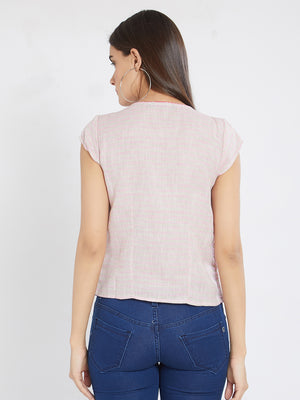 Pink Embroidered Top With Cap Sleeves