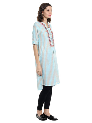 Blue Embroidered Stripe Kurta