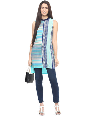 Blue Printed High Low Tunic