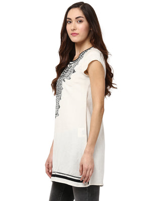Cream Ethnic Motifs Tunic
