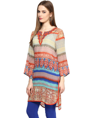 Orange Geometric Tunic