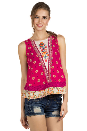 Pink Color Printed Sleevless Top