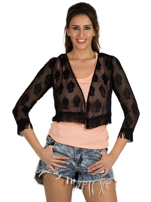 Self Design Front Open Black Shrug