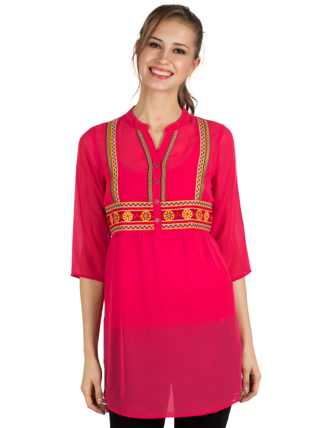Pink Embroidered Tunic - www.fusionbeats.in