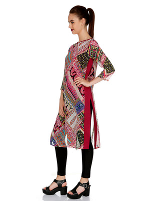 Pink Color Printed Kurta