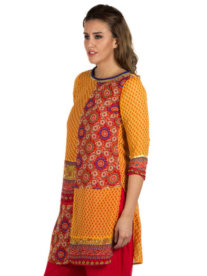 Yellow Printed Kurta