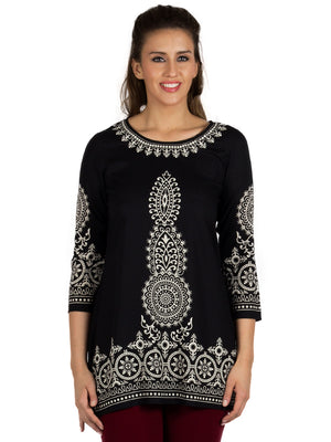 White Embroidery Black Solid Tunic