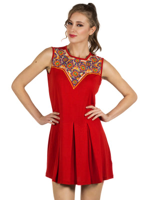 Red Solid & Neck Line Embroidery Tunic