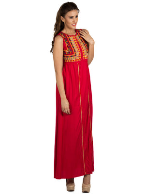 Embroidery Long Red Dress