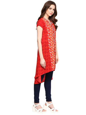 Printed Red Color Long Tunic