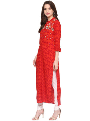 Printed Long Red Kurta