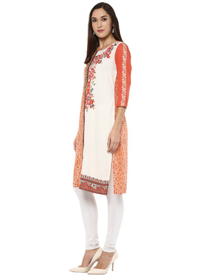 Multi Color Flower Printed Long Kurta