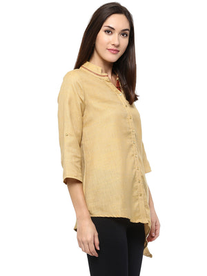 Yellow Solid With Neck Collar Top