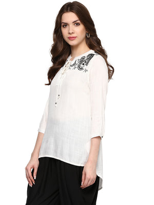 White Solid Tie Up Neck Top