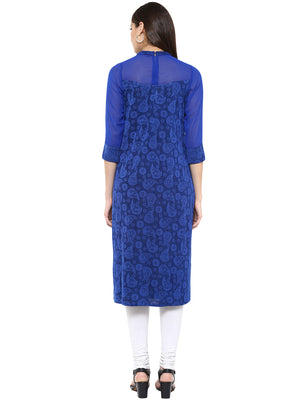 Self Design With High Neck Kurta