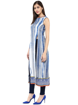 Printed Long Blue Kurta