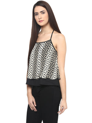 Black Printed Crop Top