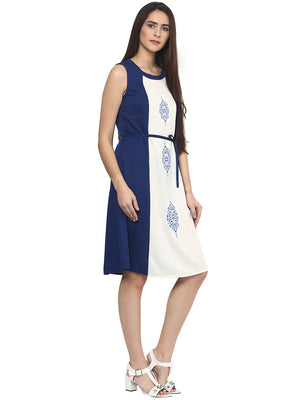 Blue And White Tie-Up Belt Dress