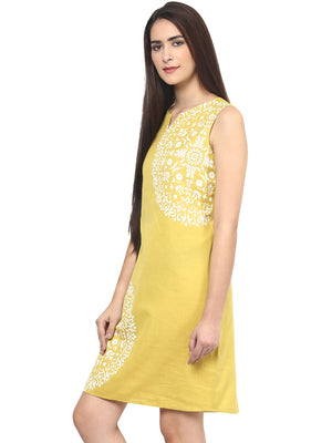 Yellow Solid With White Design Dress