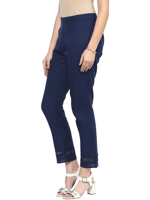 Blue Solid Pant