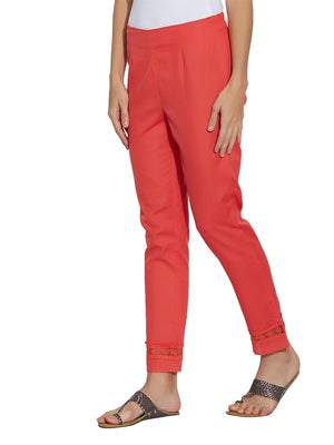 Orange Solid Pants