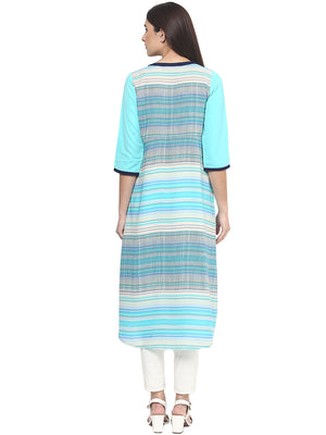 Fusion Beats Women Blue Striped Polyester Kurta