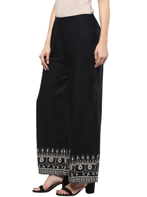 Black Straight Flared Pant