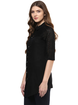 Black Solid Short Sleeve Tunic