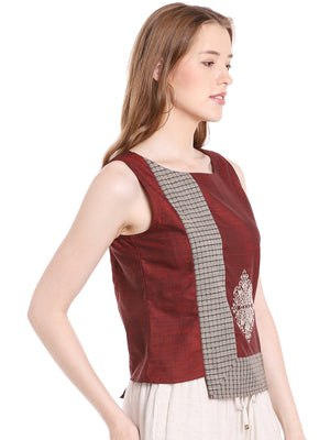 Maroon Solid With Embroidery Festive Top