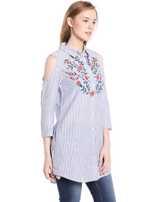 Stripe Printed With Flower Embroidery Kurta