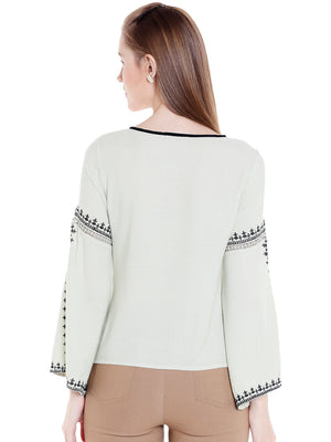 Green Embroidered Fluted Sleeves With Slit Top
