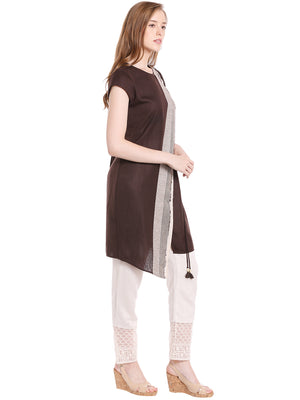Brown Line Printed Kurta