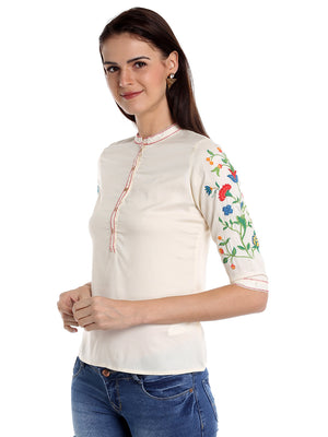 Off White Solid & Embroidery On Sleeve Top