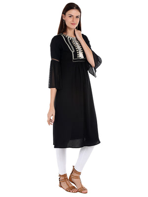 Black Solid & White Embroidery Kurta