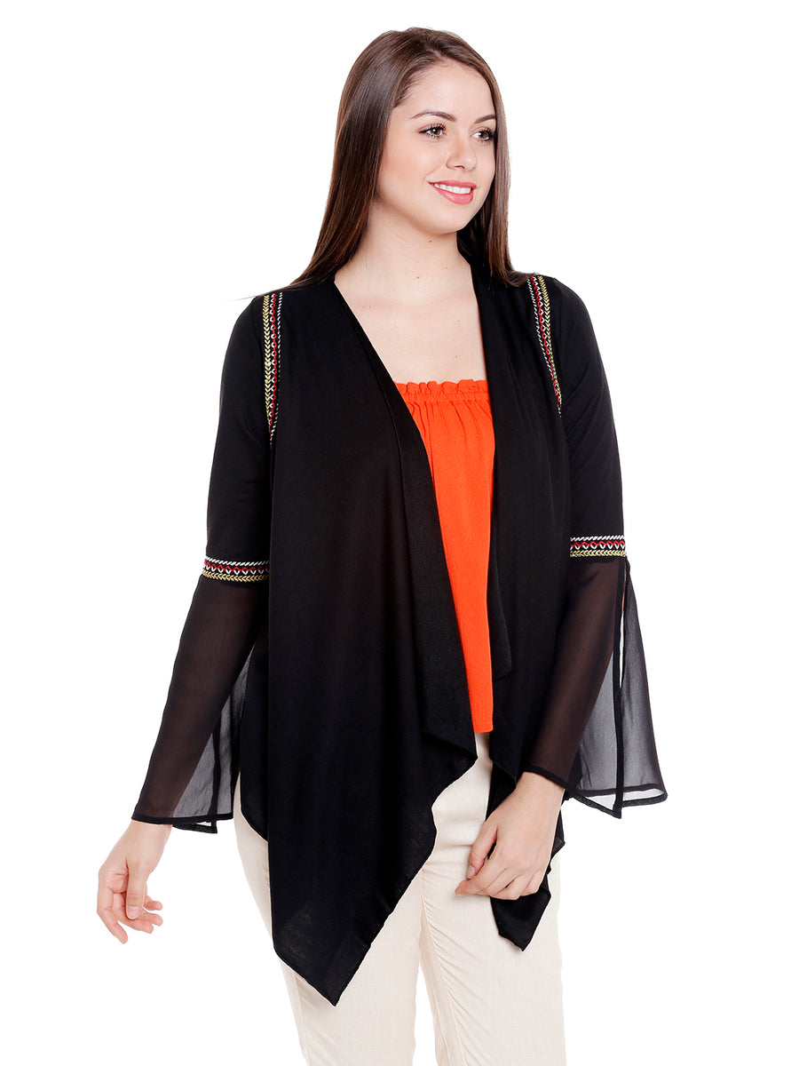 Black Self Design Cardigan