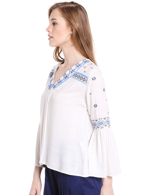 Off White Solid With Printed Top