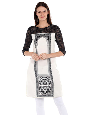 White-Black Printed Kurta