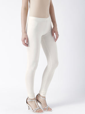 Off White Solid Churidar Leggings