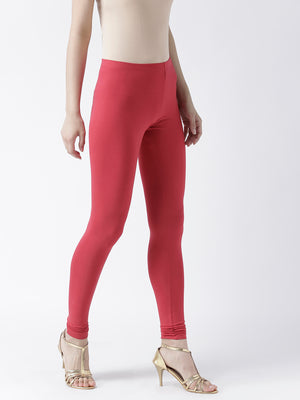 Red Solid Churidar Leggings