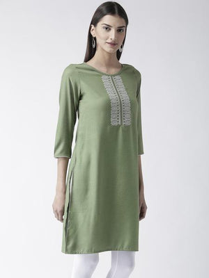 Green Knee Length Kurta With Embroidery