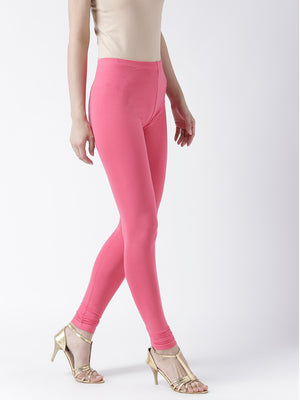Pink Solid Churidar Leggings