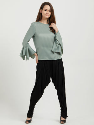 Saga Green Solid Top With Flared Full Sleeves