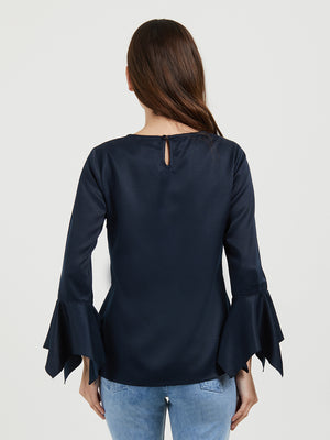 Navy Solid Top With Flared Full Sleeves