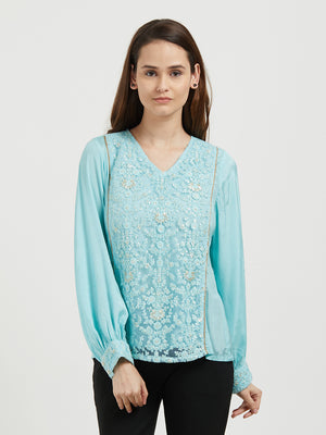 Powder Blue Glitter Top With Zari Work